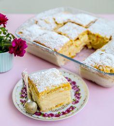 Krämig vaniljkaka med frasig smördeg. Krempita är en mycket populär och omtyckt kaka från Balkan. Jag smakade denna kaka för flera år sen och älskade den. Fyllningen är en fluffig pudding med smak av vanilj, supergod. Det är mycket vispande och några moment i receptet men den är inte alls svår att baka. 12 bitar 2 stora plattor smördeg (finns i kyldisken) 1,5 liter mjölk (gärna 3% fetthalt) 5 st ägg 3 dl socker 1,5 dl vetemjöl, 1,5 dl majsstärkelse 2 msk vaniljsocker 2 dl grädde Florsocker… Fika, Something Sweet, Vanilla Cake, Muffins, Bakery, Sweets, Snacks, Pudding, Recipes