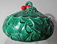 Christmas 60040 Lefton Holly & Berry Pattern Covered Lidded Candy Dish Vintage 1