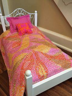 3 Piece Doll Bedding Set Comforter Pillow by Greenerbeginnings