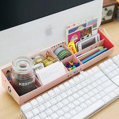 organizador escritorio rosa