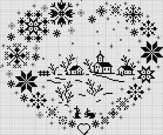 Схема для вышивки подарка к 14 февраля. Отличный монохром, зимняя тематика в форме сердца. Мне кажется, что можно его вышить меланжем. ...