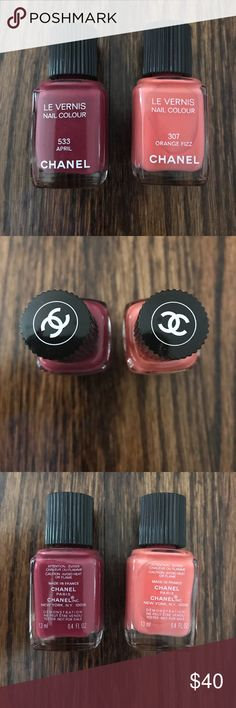 CHANEL Le Vernis Nail Polish April, Orange Fizz CHANEL Le Vernis Nail Polish in shades April 533 and Orange Fizz 307. Like New. Mostly filled. Used only to test the colors. This is the best nail polish formula!! Chanel Cosmetics is a luxury designer line. CHANEL Makeup