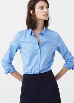 Рубашка из поплина - Рубашки - Женская | MANGO МАНГО Россия (Российская Федерация)