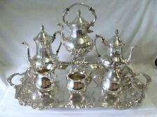 GORGEOUS 7PC SHERIDAN SILVER PLATE TEA u0026 COFFEE SET W/ HUGE TRAY u0026 WATER KETTLE & 5 piece Victorian Silver Plate tea set. English or American. Tray ...