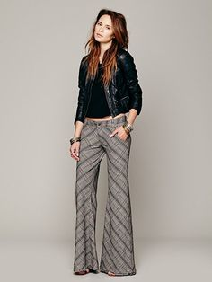 plaid print bell bottoms by free people