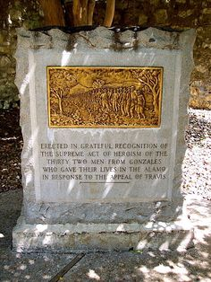 Siege of the Alamo, Day Eight - Tuesday, March 1, 1836: Reinforcements arrived at the Alamo from Gonzales providing a morale boost.  This monument recognizes their contribution.  The Convention convened at Washington-on-the-Brazos to further the discussion on Texas independence.
