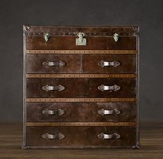 Mayfair Steamer Chest Vintage Cigar Leather (This would be a great faux finish on a second hand dresser!)
