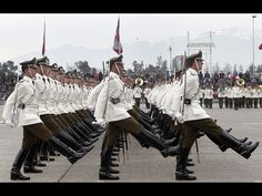Officers and cadets of the Chilean police academy (Escuela de Carabineros de Chile) marching through O'Higgins Park in Santiago at the 2012 Chilean Army Day Parade.