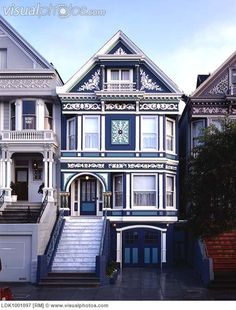 Blue And White Victorian House Townhouse Cottage Decor Era