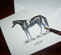 Horse note cards with monogram
