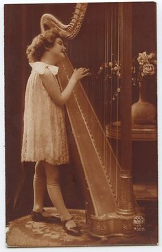 Adorable Pretty Child Girl playing HARP Music original 1920s photo postcard a