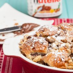 Nutella Bread Pudding (+Giveaway.) Easy, quick, no lengthy soaking needed. Breakfast, brunch, or dessert!