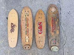 Four Vintage 70's Skateboard Decks Santa Cruz, G&S, Caster, And Hobie Old School