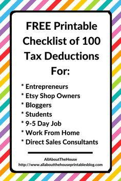 What Expenses Can I Claim? FREE Printable Checklist of 100 Tax Deductions, free printable, printable checklist, blogger, student, university student, college student, entrepreneur, work, home business, direct sales consultant, etsy shop owner, tax tool, tax organizer , printable tax planner, tax planner, editable, how to calculate taxes, tax deduction, work tax deduction, education, what can't you claim http://www.allaboutthehouseprintablesblog.com/100-tax-deductions/