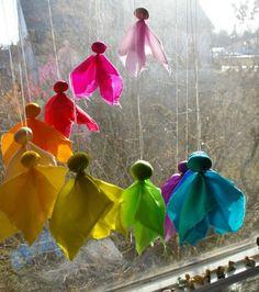 Waldorf Inspired, Silk Fairy Mobile Kit (Do It Yourself Baby or Playroom Decoration) mehr zum Selbermachen auf Interessante-dinge.de