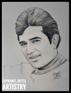 The First Superstar of Bollywood: Rajesh Khanna Pencil Sketch Portrait, Pencil Sketch Drawing, Portrait Sketches, Pencil Art Drawings, Portrait Art, Cool Drawings, Beautiful Pencil Drawings, Army Drawing, Celebrity Drawings