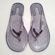 London Rebel Jelly Pewter Flip Flop Sandals Brand new. Never worn. Never tried on. Been sitting in my closet for 3 years. I forgot I had an extra pair of these. I bought one, thought I lost my pair, and ordered these ones online. Found my pair same day these were delivered.  super cute hard jelly sandals with metallic pewter thong. Cute for just because. Also cute for wedding reception/prep/or beach wedding. Cute for spa day or bachelorette pool party too! London Rebel Shoes Sandals