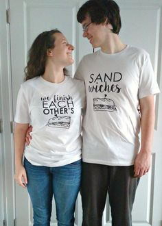 We Finish Each Other's Sandwiches 2 SHIRTS Disney Couples Shirts Screen Printed Disney T Shirt WHITE