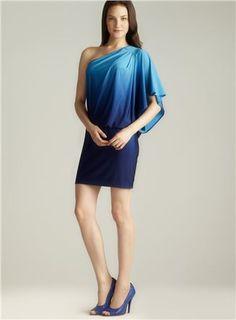 Ombre One Shoulder Blouson Dress: I love one-shoulder, love the Blouson style, love blue. Score!#blouson