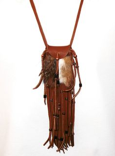 Fox fur and leather neck pouch medicine bag mountain man rendezvous pow wow totem