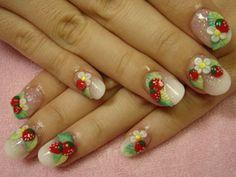 Strawberry Fimo nail design