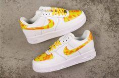 Custom Nike Air Force 1 Camo Yellow White Nike Shoes Air Force, Nike Air Force Ones, Mens Boots Fashion, Nike Fashion, Malaga, Custom Shoes, Custom Af1, Customised Shoes, Custom Sneakers