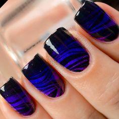 Purple Gradient & Black Watermarble Nails