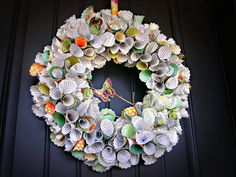 she even made her own wreath base with crumpled up newspaper and painter's tape!!