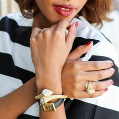 A striped blouse, a classic leather and gold watch and some gold jewellery from Boucheron - cannot be more Parisian than The Fierce Diaries.  #LoveGold #Wanderlust