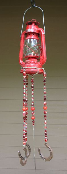 Beaded Wind Chime with Red Lantern.