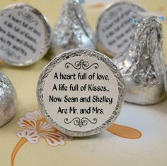 The cutest idea for a candy buffet table...Mr and Mrs Kisses stickers! Little personalized stickers that go on the bottom of Hershey's Kisses.
