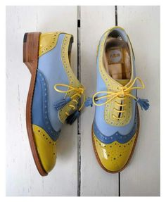 ABO yellow blue brogues #shoes #brogues #mint #shoes #obsession #aboshoes