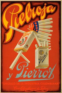 Pielroja y Pierrot vintage cigarette ad ca. Retro Advertising, Advertising Poster, Vintage Advertisements, Poster Ads, Poster Prints, Art Print, Dipping Tobacco, Cigar Store Indian, Vintage Cigarette Ads