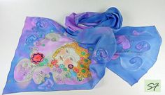 Blue Purple Silk Scarf Pretty Winter Women by SilkFantazi on Etsy