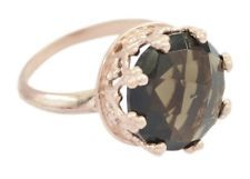 Smoky Quartz 925 Sterling Silver Rose Gold Ring splendid Brown jewelry AU gift
