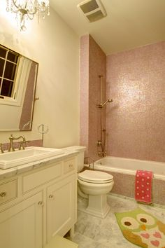 i love the pink tile, but with a more classy decorative style for the rest of the bathroom
