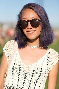 50+ Stylish Folks Who Rocked Coachella #refinery29  http://www.refinery29.com/coachella-style#slide35  Harlee Morikawa's grape-fizz hair is super refreshing.