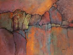 """""""Ancient Mysteries"""" geologic abstract with glass beads © Carol Nelson Fine Art"""