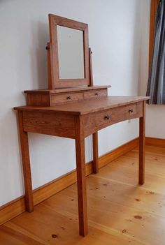 Handmade solid cherry hardwood dressing table, mission style with three hand-cut dovetail drawers and a swivel mirror. Dovetail Drawers, Dressing Table, Bedroom Sets, Entryway Tables, Hardwood, Vanity, Mirrors, Window, Furniture