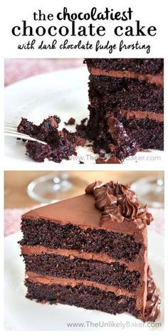 Moist chocolate cake with luxurious dark chocolate fudge frosting. This chocolate cake with chocolate fudge frosting is the best chocolate cake. Ever.