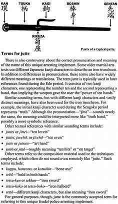"Why a jutte is called ""jutte"" and not ""jitte"". Taiho-Jutsu: Law and Order in the Age of the Samurai  By Don Cunningham. Page 72."