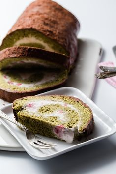 Strawberry Matcha Arctic Roll recipe.  Cake and ice cream come together in this amazing dessert!