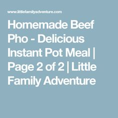 Homemade Beef Pho - Delicious Instant Pot Meal | Page 2 of 2 | Little Family Adventure
