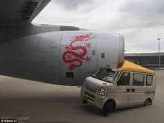 A passenger plane has collided with a service van at Hong Kong International…