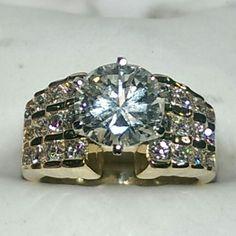 4 carat diamond engagement ring set in 14k yellow gold