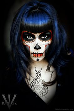 Hallowen Day of the dead makeup. Sugar Skull makeup , Day of the dead makeup. Sugar Skull makeup Day of the dead makeup. Sugar Skull Face, Skull Face Paint, Sugar Skull Makeup, Sugar Skulls, Looks Halloween, Scary Halloween, Halloween Face Makeup, Halloween Crafts, Halloween Party