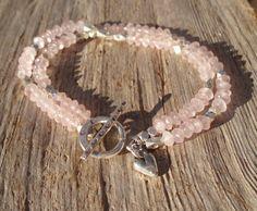 Double rose quartz & fine silver bracelet by kudzupatch on Etsy, $65.00