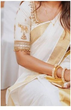 Indian Blouse Designs, Traditional Blouse Designs, Kerala Saree Blouse Designs, Half Saree Designs, Saree Blouse Neck Designs, Bridal Blouse Designs, White Blouse Designs, Designer Blouse Patterns, Sarees