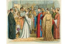 Catherine de Valois is seen here marrying Henry V, who was 14 years her senior, as part of the 1420 Treaty of Troyes. Following Henry's death she wed Welshman Owain ap Maredudd ap Tudur, who is variously referred to as the queen's steward, page or cupbearer. © Mary Evans Picture Library / Alamy