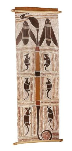 Narritjin Maymuru (circa 1916-1981)  Untitled [Possum and Night Bird (Marngu and Guwarg)]   bears artist's name on the reverse  natural earth pigments on eucalyptus bark   99 x 38cm